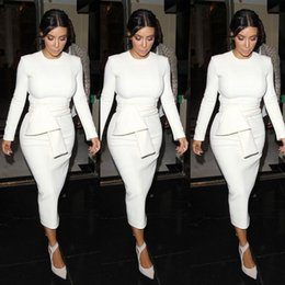 Wholesale El vendaje caliente del kim kardashian viste los vestidos formales baratos del partido del cortocircuito del vestido del baile de fin de curso del equipo de la manga de la manga del cortocircuito blanco del partido libera el envío