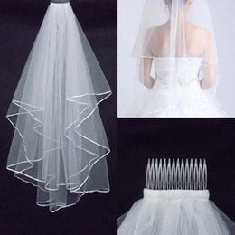 Wholesale Real Image White Tulle Vintage Wedding Bridal Veils Two Layer Simple Tulle Bridal Accessories Bridal Veils Cheapest HN05