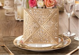 Wholesale NEW ARRIVAL wedding Invitation card CW502 gold hollow out Wedding Invitations come envelopes sealed card party invitations