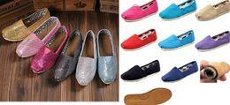 Wholesale Livraison gratuite Chaussures plates de mode de marque de vente de chaussures plates chaudes pour les filles de garçons badine les chaussures décontractées occasionnelles de scintillement des enfants de chaussures de toile