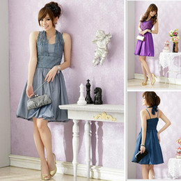 Wholesale Embroidery Halter Vintage Women Party Dresses Plus Size Knee Length New Fashion Bridesmaid Clothing Women Slim Special Occasion High Quality