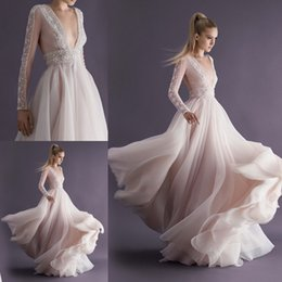Wholesale Top Quality Elegant Paolo Sebastian Wedding Dresses V neck Long Sleeves Full Back A line Wedding Gowns with Embroidery