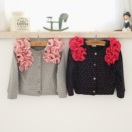 Wholesale 2015 NEW baby girl kids cotton knit crochet cardigan sweaters coat shawl blazers tops wape cape flower floral puff sleeve lace layers