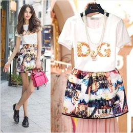 Wholesale 2015 Summer New Girls Outfits Letter Printing T shirt Skirt Sets Children Sets Big Kids Suit New Fashion Big Children Outfits