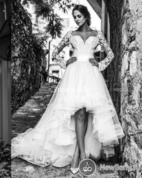 online shopping Modest High Low Wedding Dresses with Long Sleeves Short Front Long Back Tulle Sash Sweetheart Cheap Spring Garden Beach Bridal Gowns