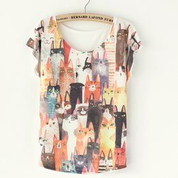 Wholesale Tops tshirt Retro Vintage Cute Many Cat Print Women T Shirts Tees Tops Blusas Femininas Fashion Summer Style Harajuku Plus Size TShirts