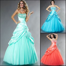 Wholesale 2015 Gorgeous Prom Dresses Elegant Aqua Strapless Sleeveless A line Floor Length Beaded Sequins Tulle Tafftaeu Evening Sweet Dresses