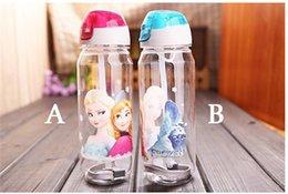 Wholesale Frozen water bottles High Quality drinkware Frozen Anna and Elsa PP Texture Suction cups kids cartoon water bottle sports bottle