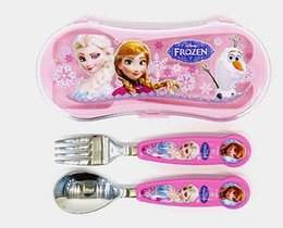 Wholesale 2014 new free shpping frozen Cartoon stainless steel mini spoon fork box
