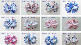 Wholesale 50pcs quot frozen Bowknot hair accessories kids bows flower baby girls headband flower Headwear boutique ribbon cute hair bows clip HD3217