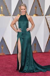 Wholesale Split Evening Dresses Halter Cathedral Train Rachel McAdams th Academy Awards Oscars Celebrity Red Carpet Dresses