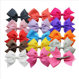 Wholesale 14 color solid barrettes hair accessories for girls Grosgrain ribbon bowknot hair clips accessories grosgrain with alligator clips