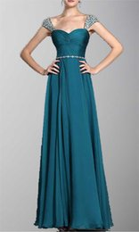 Wholesale 2015 Fashion Cheap Prom Dresses Beads Crystals On Shoulder Rhinestone Belt Peacock Green Chiffon Floor Length Christmas Party Evening Dress