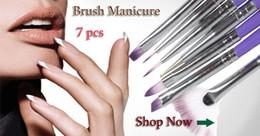 Wholesale 1 set of Purple Nail Art Design Brush Pen for Painting Dotting Acrylic Nail Brushes NAS_225