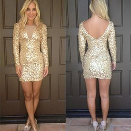 Wholesale Bling Bling Sequins Homecoming Dresses Sexy Open Back Short Party Dresses Cockrail Club Wear Dress Custom Made