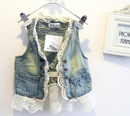 Wholesale baby girl kids lace vest lace waistcoat lace cardigan lace coat lace blazers lace outfits crochet ruffles Denim princess flower floral