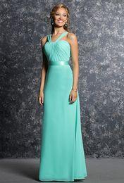 Wholesale Cheap Halter Aqua Chiffon Bridesmaid Dresses Vintage Long A Line Ruched Bodice Evening Dresses Prom Gown