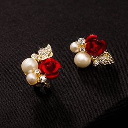 Wholesale 27mm mm Exquisite high end Shiny Stud Earrings jewelry classics noble Red rose butterfly pearl earrings for Women pair