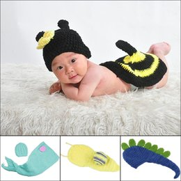 Wholesale Baby Boy Girl Crochet Knitted Hats Beanie Aminal Costume Set For Photo Prop Months DEG
