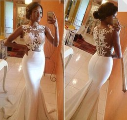 Wholesale 2015 New white mermaid prom dresses illusion lace top sweep train evening dresses beach wedding party dress women evening gowns BO5688
