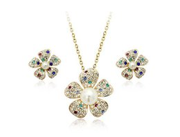 Wholesale Italina Rigant K Gold Plated Pearl Flower Pendant Jewelry Set For Women