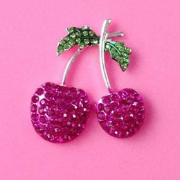 Wholesale mm cherry rhinestone button BTN