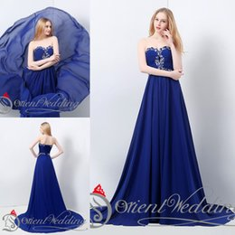 Wholesale 100 Real Picture In Stock US4 US12 Real Picture Sweetheart Chiffon Crystal Beaded Royal Blue Fashionable Long Evening Party Prom Dresses