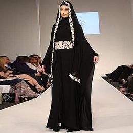 Wholesale New Arrival Elegant A Line Sash Caftan High Neck Arabic Dubai ABAYA KAFTAN Applique Black Chiffon Long Evening Dresses