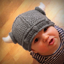 Wholesale Free DHL New Cute Children Cap Infant Handmade Crochet Winter Baby Hat Kid Viking Horns Hat Knitted Hat