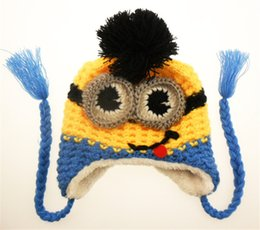 Wholesale Kids Despicable Me Hat Minions Crochet Beanie Knits Handmade Beanies Baby Caps Hats