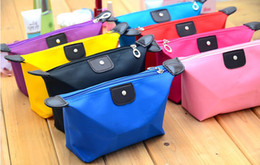 Wholesale Colorful Cosmetic bags Women Lady Girl Reto Waterproof Cosmetic storage Bag Purse Dumpling shape make up bag colors