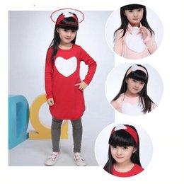 Wholesale Girls Clothing Set Love Heart Headband Pants Tshirt Kids Girls Clothes Sets Baby Girl Long Sleeve Shirt Dress Girls Autumn Dress Su