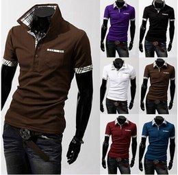 Wholesale M XXL Mens Apparel Clothing T Shirts Casual Slim Fit British T shirt Polo Shirt T Shirts Short Sleeves Tee Cotton Short Sleeve Shirt
