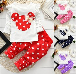 Wholesale Free DHL Minnie Mouse Girls Cartoon Suits Girls Bowknot Tshirt Dot Pants Outfits Set Girls Spring Autumn Clothing Set