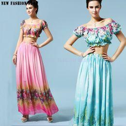 Wholesale Fashion Casual Hawaiian Flower Print Two Piece Latin Long Maxi Dresses Outfits Summer Women Beach Dress