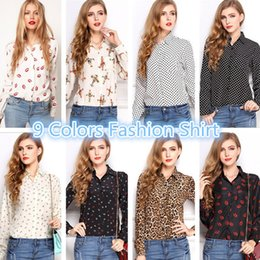 Wholesale 10 LOT2015 NEW CHIC Hot Sale Sexy Women Long Sleeve Women s Blouses Shirts Casual Tops Loose Button leopard