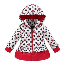 Wholesale girls winter coat children cute polka dot hooded down jacket outerwear kids girl warm clothing baby fashion cartoon clothes