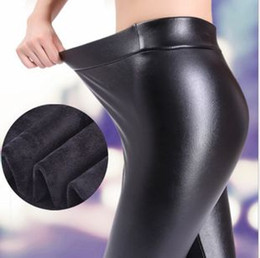 Wholesale Winter New Leather Thick Leggings Pants PlusVelvet PU leather Warm Leggings Black High Waist Skinny Leggings Clothes for Women