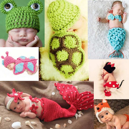 Wholesale Newborn Baby Infant Crochet Knitting Costume Soft Adorable Clothes Photo Photography Props Hats Caps for Month D1573