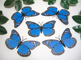 Wholesale 24 Pieces Wingspan Inch Blue Monarch Viceroy Fake Artificial d Butterfly with Pin Wedding Reception Table Cake topper Decorations Gift