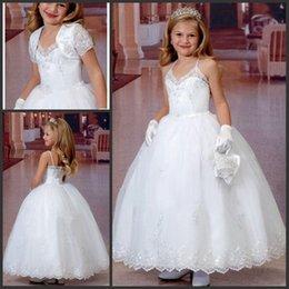 2017 Vestidos de niña de flores para la boda correas de espagueti vestido de bola de encaje longitud de tobillo largo vestidos blancos formales para la comunión