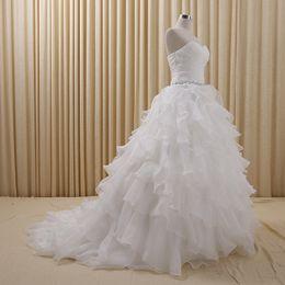 Wholesale 2015 White Organza A Line Wedding Dresses Sweetheart Strapless Boho Wedding Dress Lace up Crystal Waist Cascading Ruffles Color Wedding