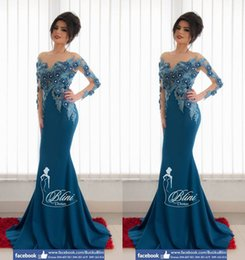 Wholesale 3D Floral Appliques Mermaid Arabic Dresses Sheer Neck Crystals Long Sleeves Satin Evening Dresses Sexy Lace Navy Evening Gowns