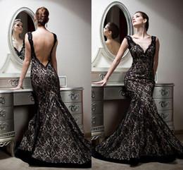 Wholesale 2015 Sexy Backless Mermaid Evening Dresses V Neck Vintage Lace Empire Formal Dresses Floor Length Custom Made beautiful_dress