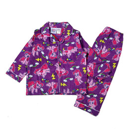 Wholesale my little pony clothes girls clothing sets cartoon sleepwear kids kids cotton pajamas clothing sets purple pajamas in stock