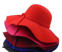 Wholesale Vintage women hats wool cashmere graceful infinity flet fedora floppy cloche wide brim bowknot church hat caps for ladies girl color ZM014