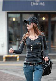 Wholesale 2014 Summer Autumn Plus Size Women Clothing T Shirt Korean Style Punk Sexy Tops Tee Clothes Long Sleeve T Shirt Slim SV007514
