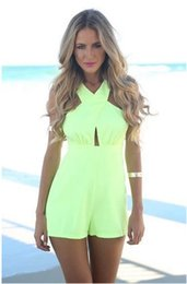 Wholesale Europe and America women s stitching hollow halter piece personality jumpsuit