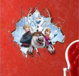 50шт 60 * 60см Замороженные 3D Разбитое отверстие в стене ELSA фильм стены наклейки Home Decor Виниловые Детская комната cartoonl съемные стикеры стены Таблички