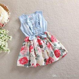 Wholesale 2015 Kids Girls soft denim Floral Dresses Baby girl princess tutu Ruffle Bow dress babies clothes children s korean clothing